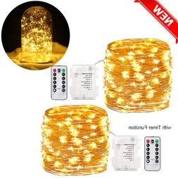 2Pack Fairy Lights Remote Control Battery DIY Operated Water