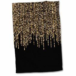 "3dRose Faux Glitter String Lights On Black Towel, 15"" x 22"""