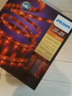 New ! 15ft Flat Rope Philips LED 135 ct Rope Lights - Orange