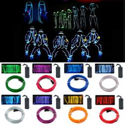 Flexible Neon LED EL Wire Light Battery String Lights Robe L