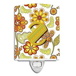 Caroline's Treasures Letter S Floral Mustard and Green Ceram
