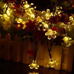 Flower Fairy Lights 21ft 50 LED Solar Outdoor String Flower