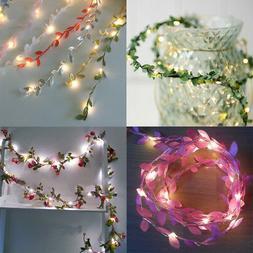 Flower Leaves LED String Fairy Lights Battery Operated Lamp