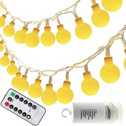 echosari Frosted Warm White Globe Battery String Lights with