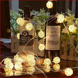 Globe Rattan Ball String Lights, Goodia 13.8feet 40 LED Warm