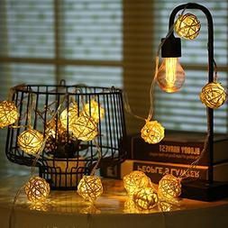 Globe Rattan Ball String Lights, HOPET 20 LED USB Powered St