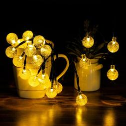 Globe Solar Fairy String Lights 30 LED 21ft 8 Mode Bubble Cr