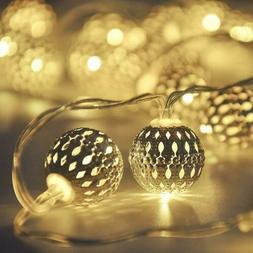 Globe String Lights,CMYK 13 ft 40 LED Fairy Battery Operated