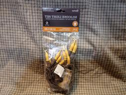 Golden Yellow Silicone Dipped 10 ct Bulb, Brown Wire Light S