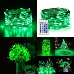 Green Fairy Lights Plug In 33Ft 100 LED Starry String Dimmab