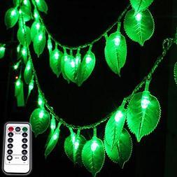 Dreamworth Green Leaf String Lights,8Ft/2.5M 20LEDs Battery