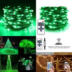 Green LED String Lights Plug In 66Ft 200 Waterproof Christma