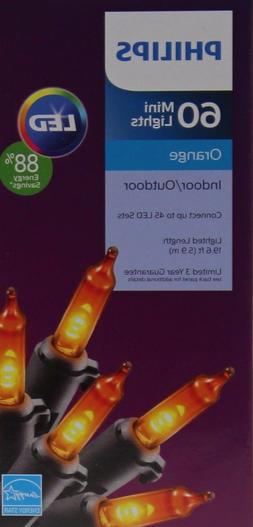 Halloween Philips LED 60 Orange Mini String Lights Black Wir