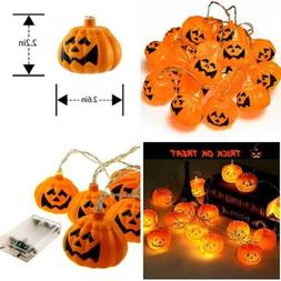 Halloween Pumpkin Lights Lanterns 20 LED 6.9 Ft Battery Powe