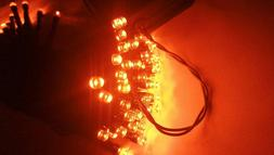 Halloween String Lights 40Ft 100 LED ORANGE 8Modes Solar Fai