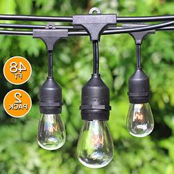 2-Pack 48Ft Heavy Duty Outdoor Patio String Lights, Edison V