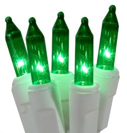 Holiday Essentials Ultra-Brite Green Lights on White Wire -