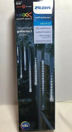 Philips Indoor/ Outdoor 12 Icicle LED Lights CASCADING EFFEC