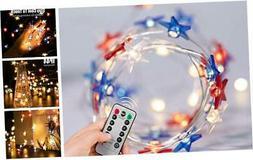 July 4th Independence Day LED String Lights, 16FT 50LEDs USA