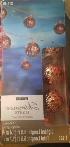 Ashland 10 count String Shimmer Lights*Rose Gold Copper*Crea