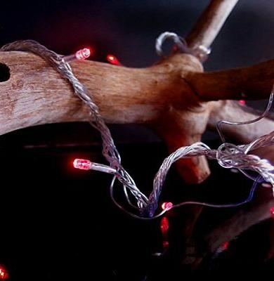100 Indoor/Dry Red LED Mini String Lights, 28FT Cord, Modes