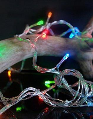 100 Indoor/Dry RGB LED Lights, 28FT Clear Multi-flicker