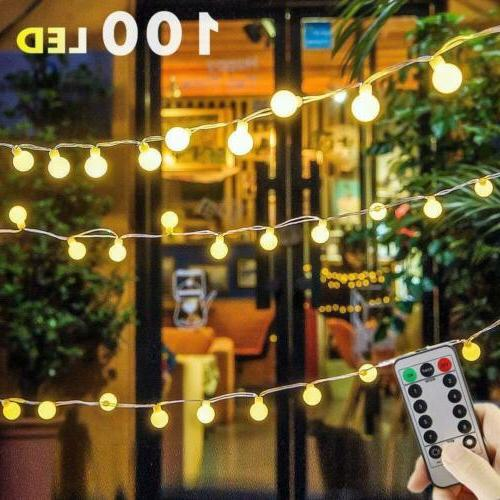 100 LED Globe String Lights, 55ft 8 Modes USB Fairy Lights w