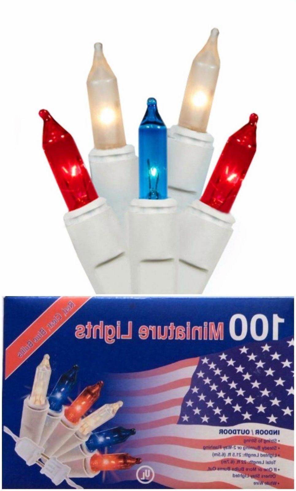 100 RED WHITE BLUE Lights Christmas outdoor