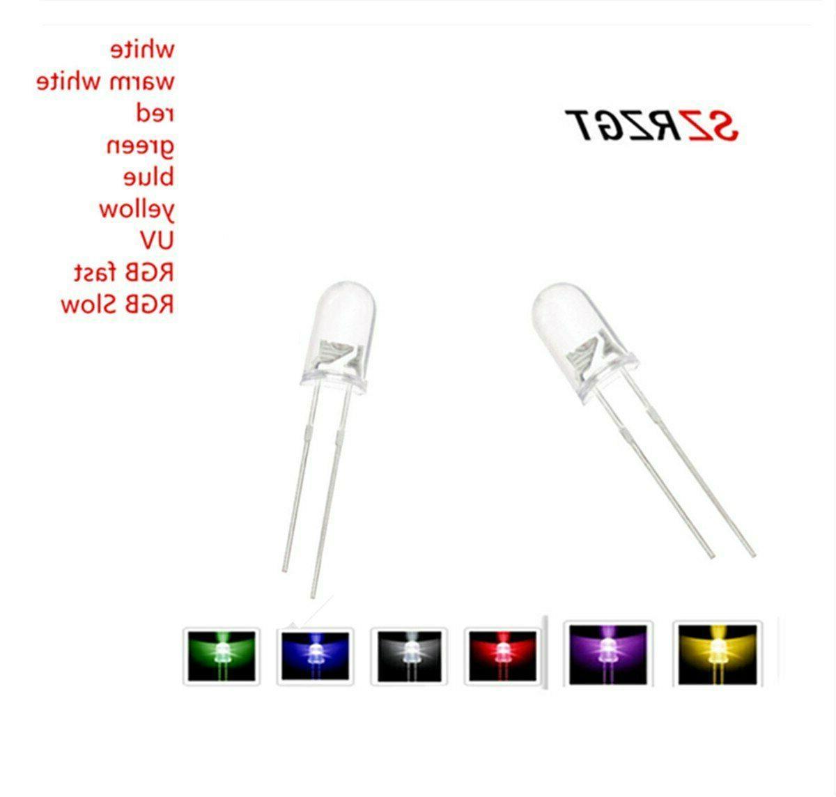 1000pcs 5mm led white/blue/red/yellow/green/pink bulbs emitting