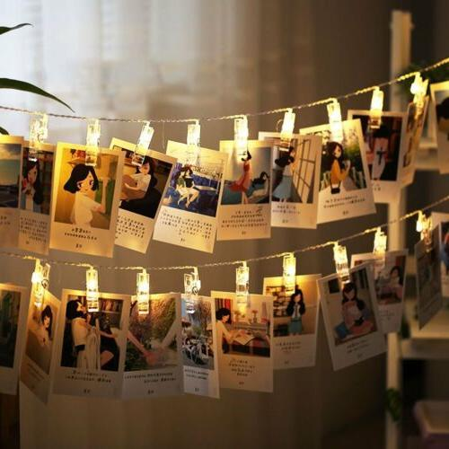 10 LEDs Hanging String Lights with Photo Display Clips for B