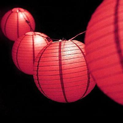12 hot pink paper lantern string light