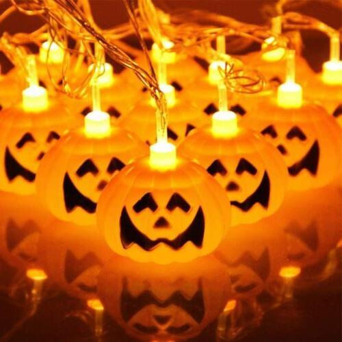 Halloween 16 LED Pumpkin String Lights Lantern Lamp Home Dec