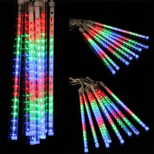13.1ft 8Tube Meteor Shower Rain Snowfall Plug-In String Lights Outdoor