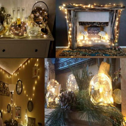 16x LED Fairy String Copper Lights Operated