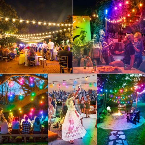 2-Pack 48FT Color Outdoor Cafe LED String Lights