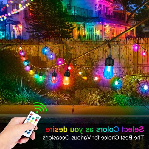 2-Pack Changing Outdoor RGB String Lights