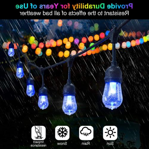 2-Pack 48FT Color Outdoor RGB String Lights