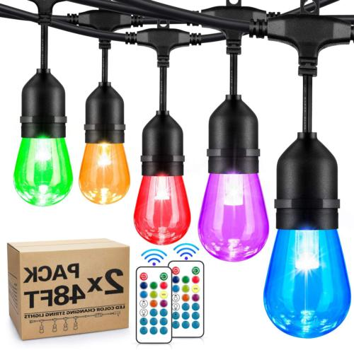 2 pack 48ft color changing outdoor rgb