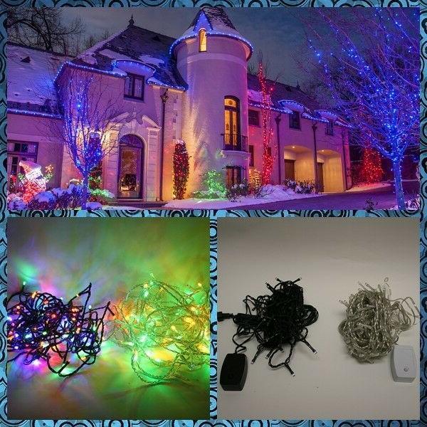 2 Packs of 33ft 100 LED 8-Modes RGB Corded Christmas String