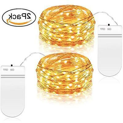 2 PCS Seasonal Lighting Fairy String Lights, Battery Operate