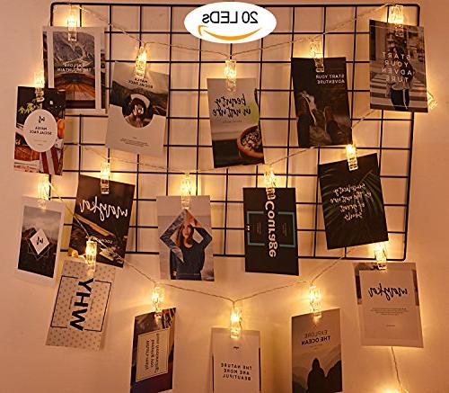 20 Photos String AOSTAR Battery Operated String Lights for bedroom Hanging Photos, Cards and