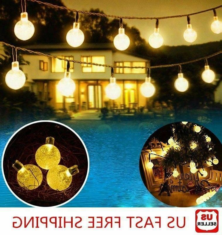 20ft 30 LED Solar String Ball Lights Outdoor Waterproof Warm
