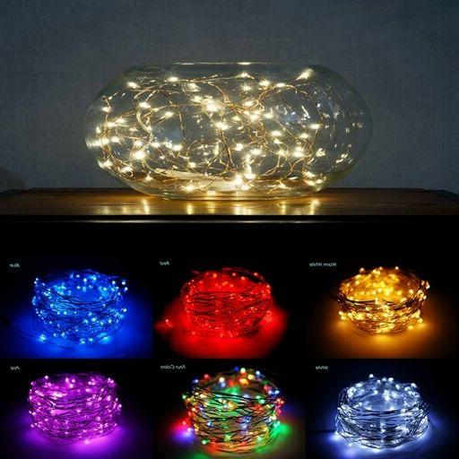 20LED 6.6ft/2m Silver Copper Wire String Lights, Battery, Pa