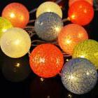 20 LED Cotton Ball String Fairy Plug in Light Party Decor Ho