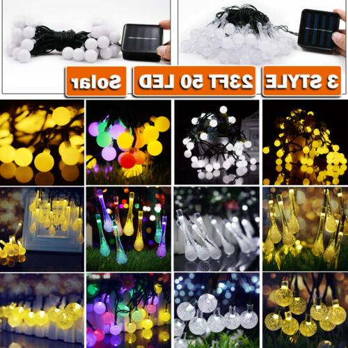 23FT 50 LED Solar String Ball Lights Outdoor Waterproof Cool