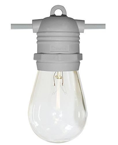 24 Socket Outdoor Commercial String Set, S14 Bulbs, 54 White Cord w/ Base, Weatherproof