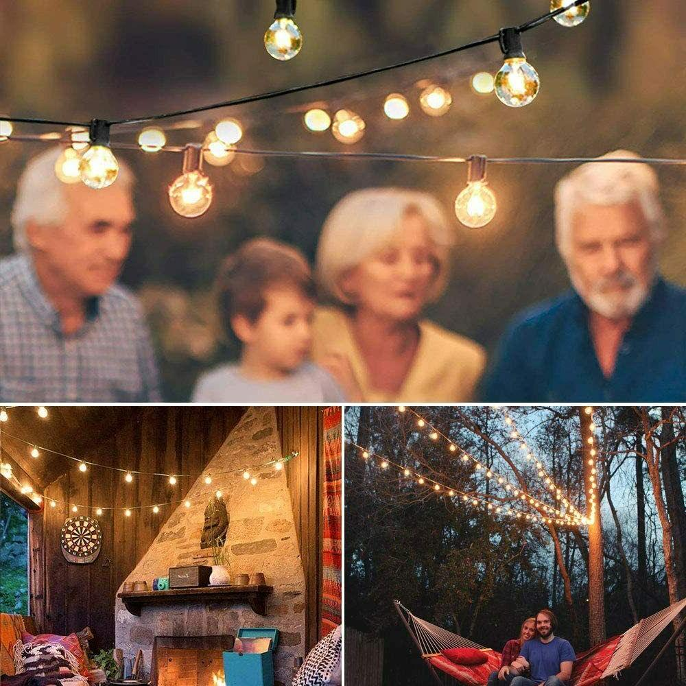 25Ft Outdoor Globe String Bulbs Patio Deck Yard Decor