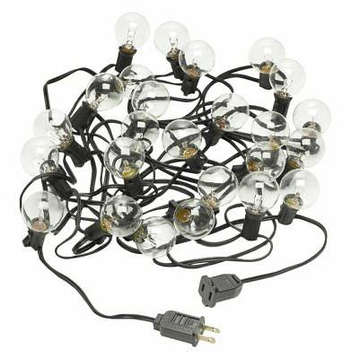 Radiance Clear String Globe Lights, 25 ft, Black Wire, G40 B