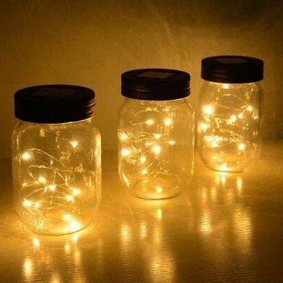 3-Pack Solar Jar Lid Fairy Garden