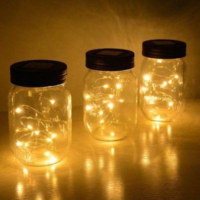 3-Pack Jar Lid Fairy String Lights Garden